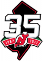 New Jersey Devils 2017 18 Anniversary Logo iron on sticker